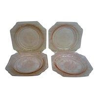 Four Pink Princess Depression Glass Sherbet Plates