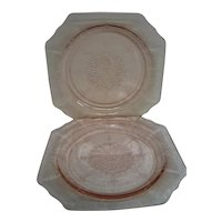 Two Pink Princess Depression Glass Salad Plates