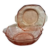 Two Pink Princess Depression Glass Handled Berry Bowls