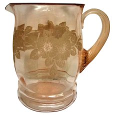 Vintage Pink Dogwood Depression Glass Pitcher