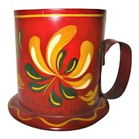 Hand Painted Red Toleware Footed Metal Cup