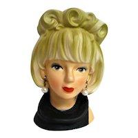 Enesco Lady Head Vase with Pearl Earrings