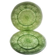 Two Green Cameo, Ballerina Depression Glass  Dinner Plates