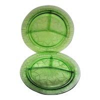 Two Green Cameo, Ballerina Depression Glass Grill Plates