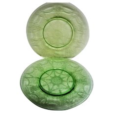 Two Green Cameo, Ballerina, Depression Glass Luncheon Plates