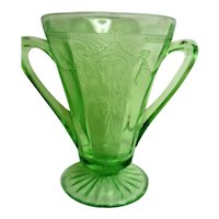 Green Cameo, Ballerina two handled Tall Footed Sugar