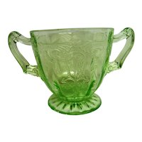 Green Cameo, Ballerina Depression Glass Footed Short Sugar Bowl