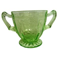 Green Cameo, Ballerina Depression Glass Footed Short Sugar Bowl