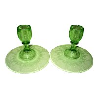 Green Cameo, Ballerina,Pair Depression Glass Candlesticks Candle Holders