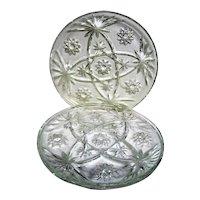 Three Early American Prescut Clear Glass Snack Trays