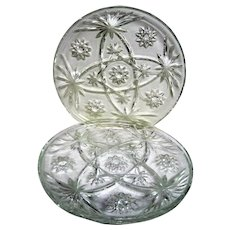 Three Early American Prescut Clear Glass Snack Trays
