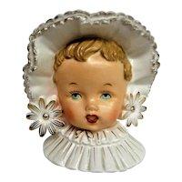 Hand Painted Brunette Child Head Vase with Bonnet