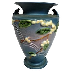 Roseville Large Blue Snowberry two handled Footed Vase