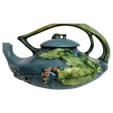 Stunning Roseville Blue Bushberry Tea Pot