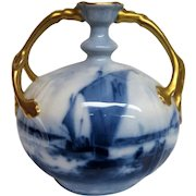 Large Limoges Two Handled Hand painted Sailboat Vase