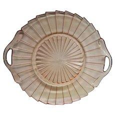 Pink Depression Glass Sierra Pinwheel Two Handled Tray