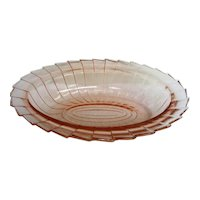 Pink Sierra Pinwheel Oval Vegetable Bowl Depression Glass