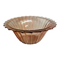 Pink Depression Glass Sierra Pinwheel Large Berry Bowl