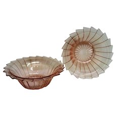 Two Pink Sierra, Pinwheel Depression Glass Cereal Bowls