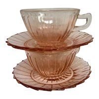 Two Pink Sierra Pinwheel Depression Glass Cups and Saucers