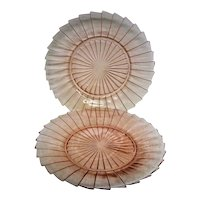 Two Pink Sierra Pinwheel Depression Glass Dinner Plates