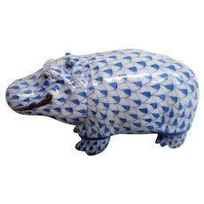 Hand Painted Herend Fishnet Large Hippo Figurine