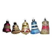 Five Vintage Hand Blown Hand Painted Bell Christmas Ornaments