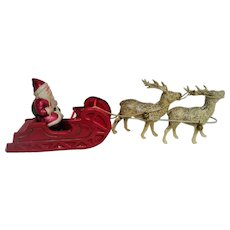 1930 Celluloid Santa in Sleigh with two Reindeer