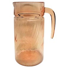 Pink Depression Glass Swirl Pitcher