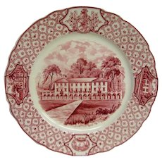 Phillips Exeter Academy Red Transferware Plate