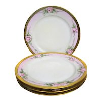 Four Hand Painted Rose Decorated Hutschenreuther Plates