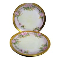 Three Hand Painted Rose Decorated Plates