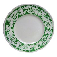 Two Large Green and White Embossed Royal Cauldon Plates