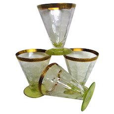 Four Fantastic Floral Etched Footed Yellow Green Juice Goblets
