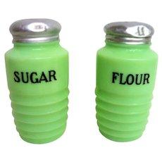 Vintage Jadeite Ribbed Sugar and Flour Range Shakers