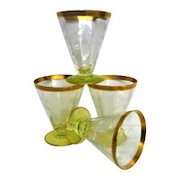 Four  Yellow Green Footed  Etched Depression Glass Floral Juice Goblets