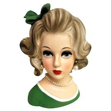 Vintage Large Lady Head Vase with Green Bow and Green Dress and Pearl Jewelry