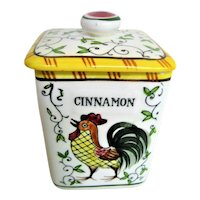 Hand Painted Rooster and Roses Lidded Cinnamon Spice Canister