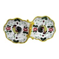 Hand Painted Rooster and Roses Singled Handle Double Snack Tray
