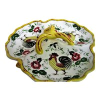 Hand Painted Rooster and Roses Triple Handled Triple Dish Snack Tray