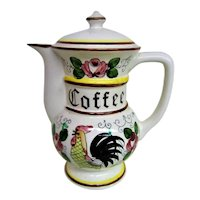 RARE  Hand Painted Rooster and Roses Footed Coffee Pot with Lid