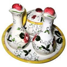 Hand Painted Rooster and Roses Covered Mustard and Condiment set