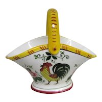 Hand Painted Rooster and Roses Handled Basket