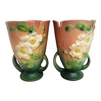 Pair of Pink and Green Background White Rose Roseville Handled Vases