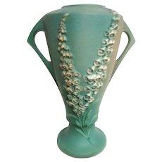 Huge Stunning Roseville Two Handled Footed Foxglove Vase