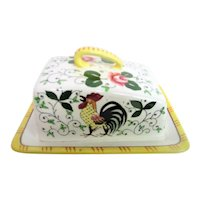 Hand Painted Rooster and Roses Covered Cheese Dish