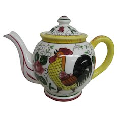Hand Painted Rooster and Roses Teapot Tea Pot, Signed PY