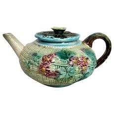 Vintage Majolica Floral Covered Teapot