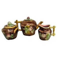 Vintage Majolica Floral Decorated Tea Set with Teapot, Creamer and Covered Sugar