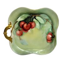 Hand Painted Limoges Ripe Cherries Handled Square Tray